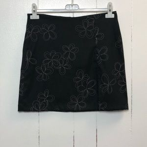 No Boundaries Black w/ Flowers Mini Skirt